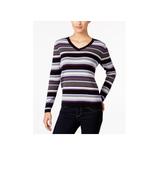 Karen Scott Petite Striped Ribbed V-Neck Sweater, Black/Purple Combo NWT... - $12.48