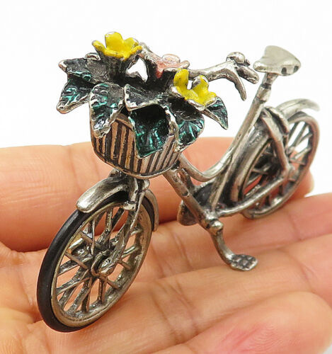 Primary image for 925 Sterling Silver - Vintage Enamel Decorated Bicycle With Flower Basket- T1464