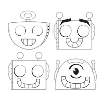 "Party Robots 6 3/8"" x 7"" Color your own Mask, 4 Designs, Case of 72 - £23.06 GBP"