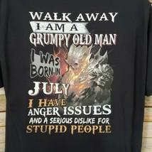 Grumpy Old Man Graphic T-Shirt Size XL Black With Skulls Cotton Short Sl... - $14.84
