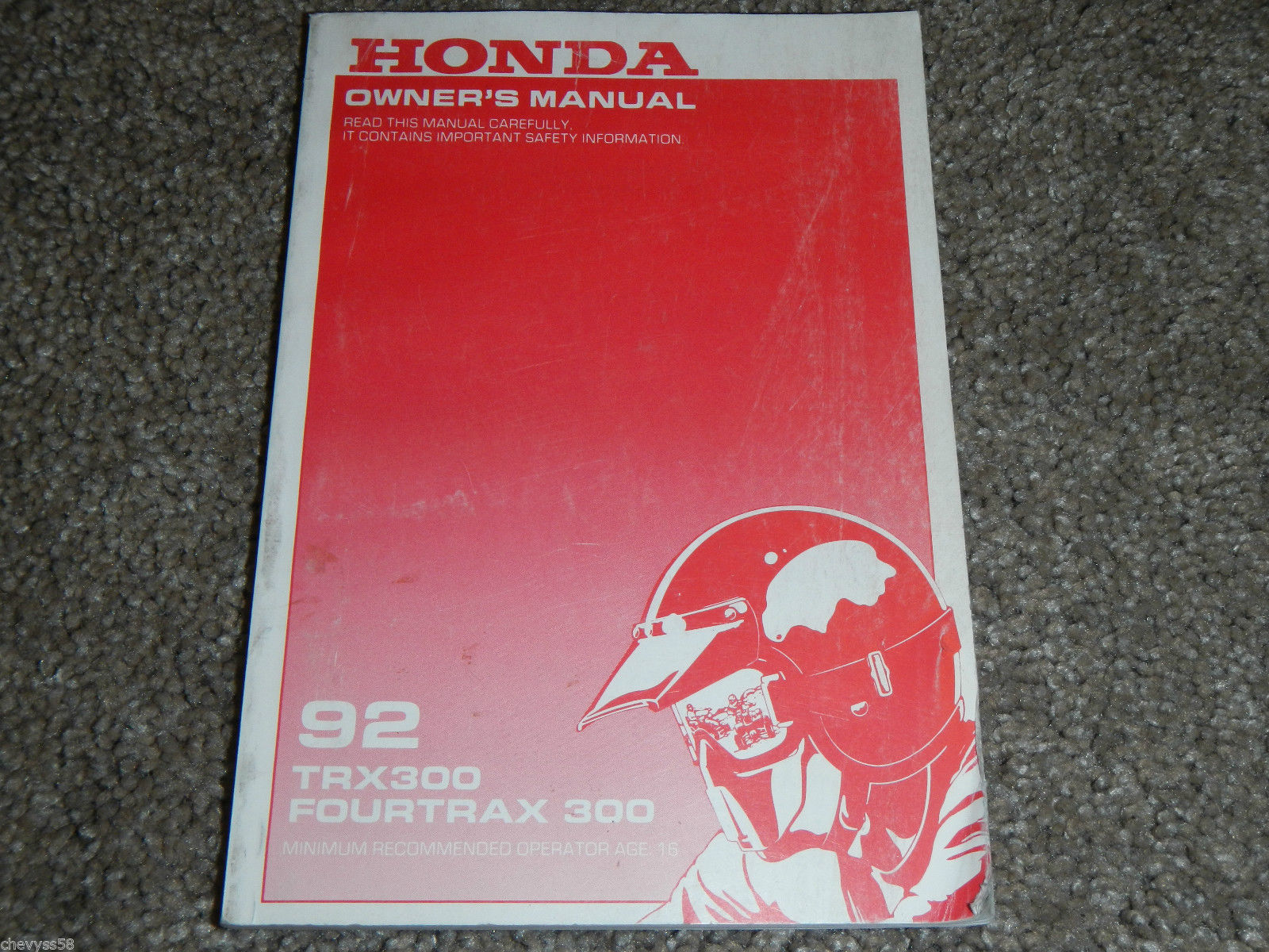1992 92 HONDA TRX300 TRX 300 FOURTRAX OWNER OWNERS OWNER'S MANUAL