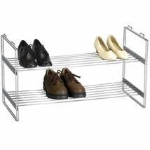 2 Tier Steel Wire Shoe Rack Stackable Closet Storage Organize Space Savi... - $54.44