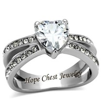 HCJ WOMEN'S STAINLESS STEEL 3 PRONG HEART SHAPE CZ ENGAGEMENT RING SIZE 10 - $12.59