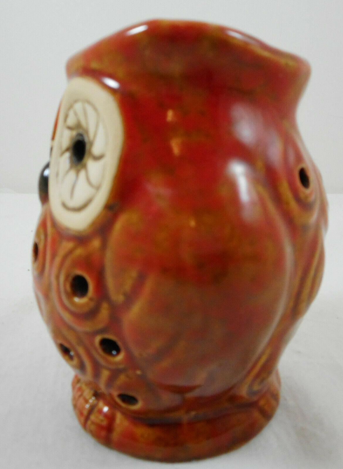 """Small Owl Figurine Scent Holder Potpourri Orange 4"""" Ceramic"""