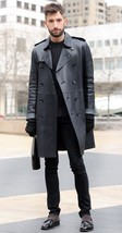 Men Leather Coat Winter Long Leather Coat Genuine Real Leather Trench COAT-UK24 - $214.46