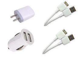 Samsung Galaxy Note 3 Dual Car Charger + 2X USB 3.0 Cables + Power Plug ... - $15.93