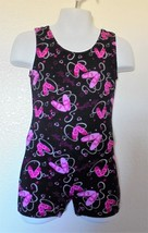 Just Imagine - Love Ballet Unitard Nylon Girls Size 4/5 Blk/Pink/Silver - $5.99