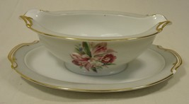 Noritake 5049 Vintage Gravy Boat w Saucer chipped 9 1/2in x 6in x 3in Ch... - $22.83