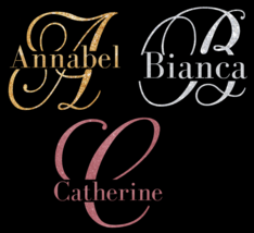 """Personalised Script Initial with name IRON ON Heat Transfer 5"""" width - $6.55"""