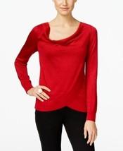 Inc International Concepts Draped Metallic Sweater Red Large - $30.33
