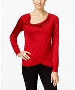 Inc International Concepts Draped Metallic Sweater Red Large - $30.33
