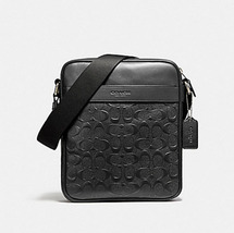 Coach Charles Flight In 54782 Black Leather Messenger Bag embossed signa... - $133.00