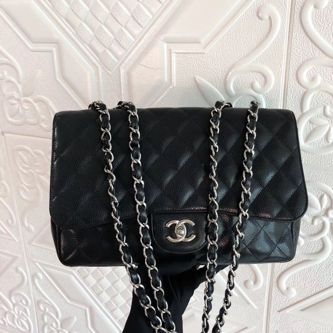 Authentic Chanel Black Jumbo Quilted Caviar Classic Single Flap Bag Silver HW