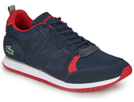 Mens Lacoste Aesthet 120 2 SMA Sneaker - Navy Red/Textile Suede - $93.59