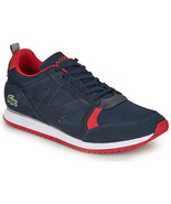 Mens Lacoste Aesthet 120 2 SMA Sneaker - Navy Red/Textile Suede - $124.35 CAD
