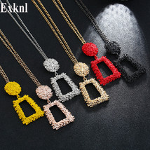 Exknl Long Women Pendant Necklace Colorful Vintage Necklaces & Pendants Fashion  - $9.43
