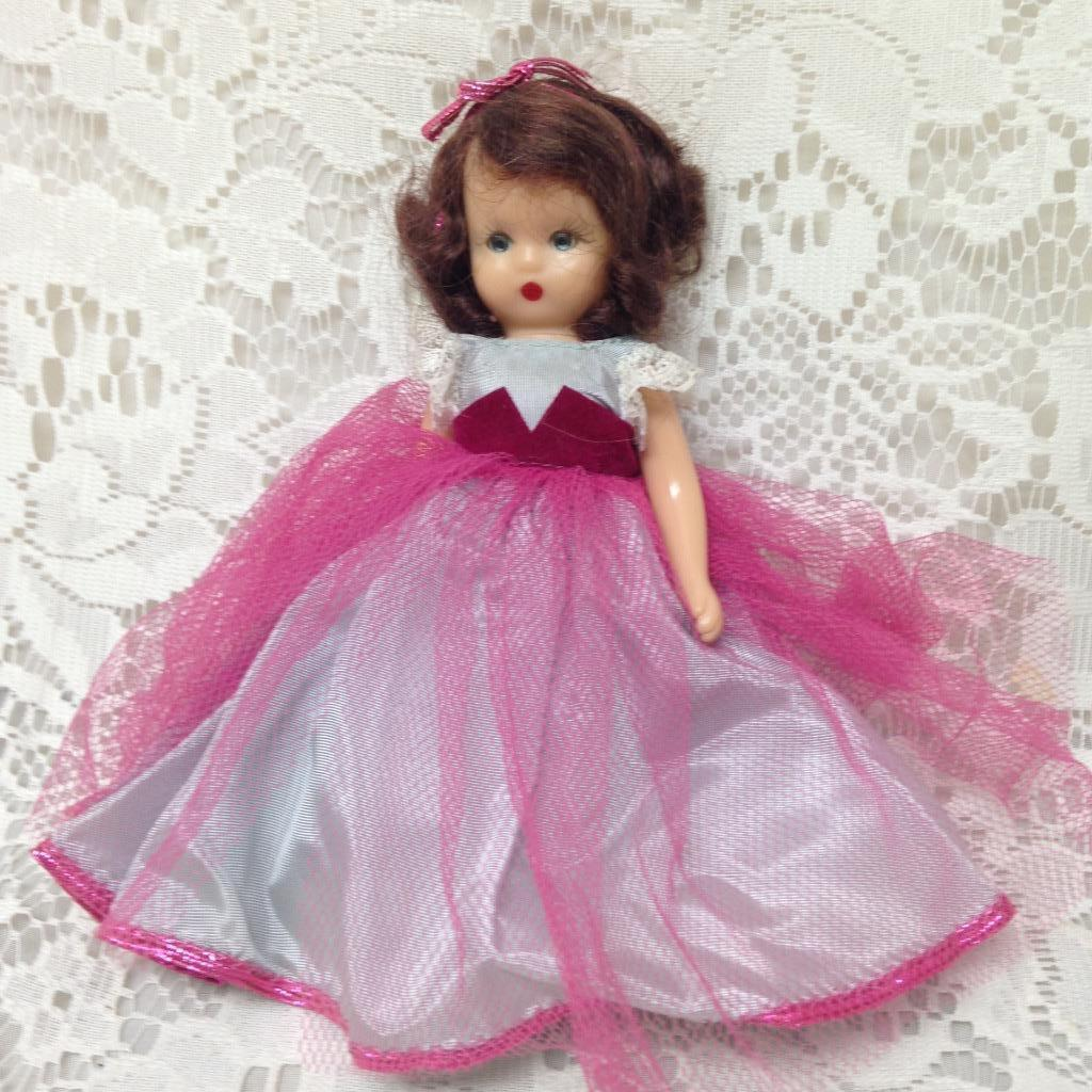 Primary image for Vintage1940-50s 6in Nancy Ann Story Book Doll in Bluish Pink Gown
