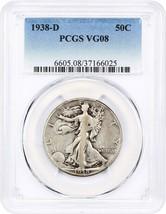 1938-D 50c PCGS VG-08 - Low Mintage Issue - Walking Liberty Half Dollar - $77.60