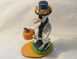 SKELETON CAT SCULPTURE Handmade Polymer Clay Folk Art Doll Corpse Day of... - $28.71