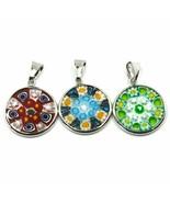 3 Anhänger, Disco Murano-Glas, Durchmesser 18 MM,Murrine,Silver - $44.06