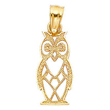 Owl Pendant 14k Yellow Gold Pendant - Owl 14k Yellow Gold Charm - $93.54