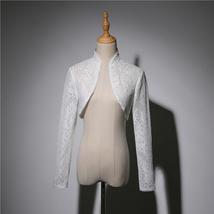 Long Sleeve Wedding Lace Cover Ups Retro Style Lace Bridal Boleros, white, plus image 1