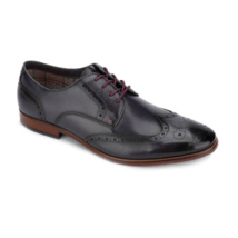 Tallia Vitale Mens Dress Shoes Black Size 9 Wing Tip Oxford Lace Up - $39.59