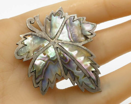 MEXICO 925 Silver - Vintage Mother of Pearl Floral Leaf Brooch Pin - BP1464 - $32.88