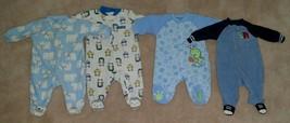 4 Pairs Carter's Fleece Footie Pajamas Lot Boy 3 Months SOFT Blue White ... - $24.70