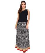 Black & White Zig - Zag Jaipuri Skirt with Golden border - SNY18227 (Cru... - $25.75