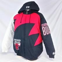 Vintage Chicago Bulls Logo Athletic Shark Tooth Coat Winter Jacket 90s S... - $229.99