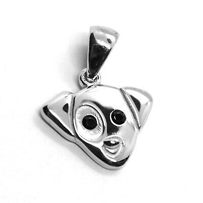 18K WHITE GOLD MINI PENDANT, JACK RUSSELL DOG, BLACK ZIRCONIA MADE IN ITALY