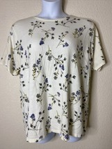 First Issue Womens Plus Size 1X Ivory Floral Pattern Knit Blouse Short S... - $14.85