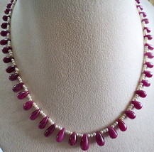 NATURAL RUBY TEARDROP 60 PCS 160 CARATS PEARL LADIES BEADS NECKLACE - $1,000.00