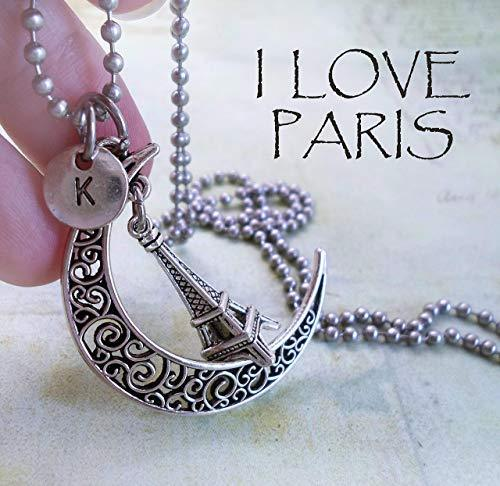 Primary image for Eiffel Tower Filigree Crescent Moon Necklace with Letter Charm of Your Choice *