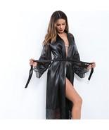 New black sexy satin lace long sleeve women maxi robe sleepwear nightgown - $38.00