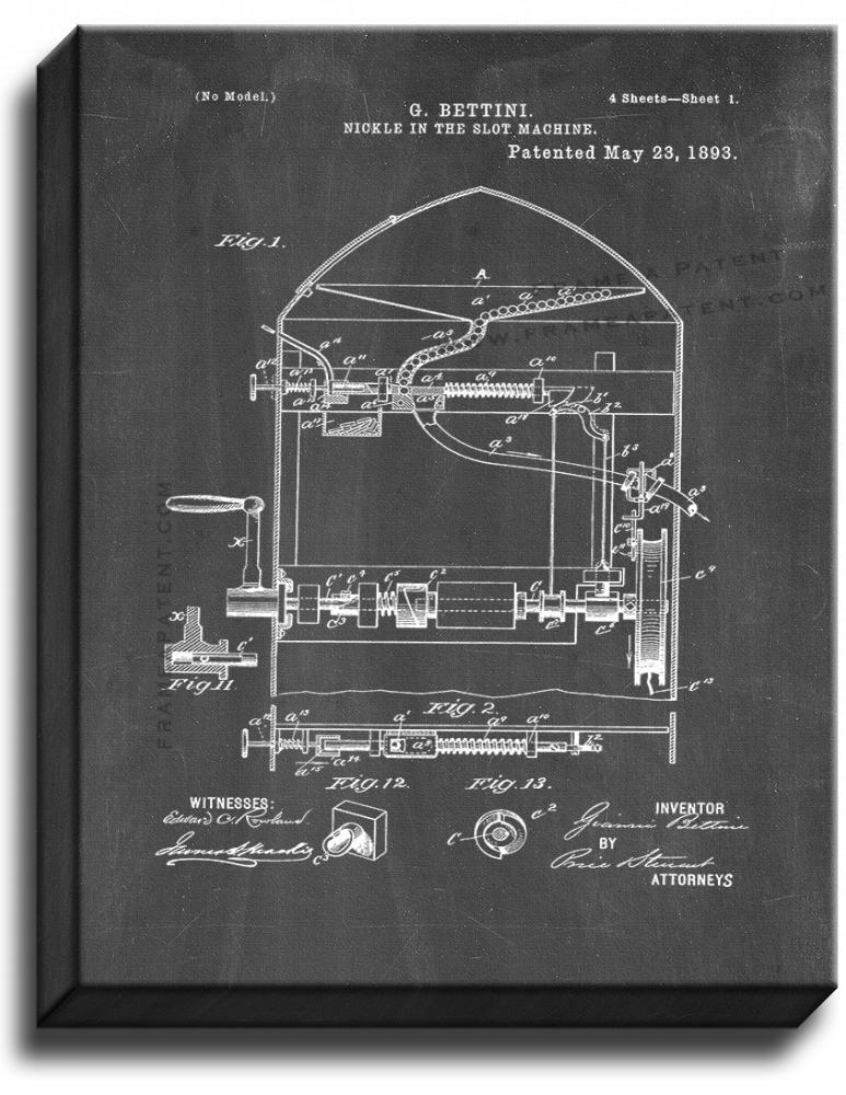 Primary image for Nickel In The Slot Machine Patent Print Chalkboard on Canvas