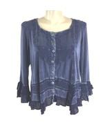 Denim 24 7 Womens Top 18W Vintage Blue Rayon Boho Embroider Tier Flirty ... - $18.37