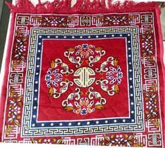 Beautiful Designer Red Color Prayer Mat Lal Aassan For Seating During Pooja - $23.93