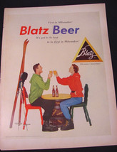1954 Blatz Beer SKIERS Toasting Each Other Snow Skis Print Ad  - $9.99