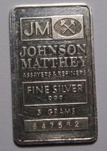 Johnson Matthey Silver Art Bar 5 Gram Vintage  Lot# N 467