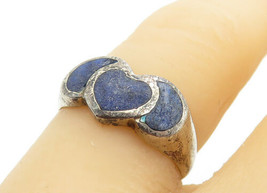 925 Sterling Silver - Vintage Lapis Lazuli Love Heart Band Ring Sz 6 - R... - $24.31