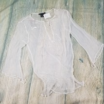 New RAMPAGE HEART MOON STAR sz S see through beaded sequined white blous... - $23.00