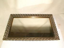 "Vanity mirror tray ornate filigree vintage 18 3/4"" x 12 3/4"" retro era - $35.00"