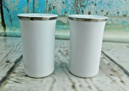 Vtg Rosenthal Porcelain Salt And Pepper Set Silver Trim on White Classic - $19.79