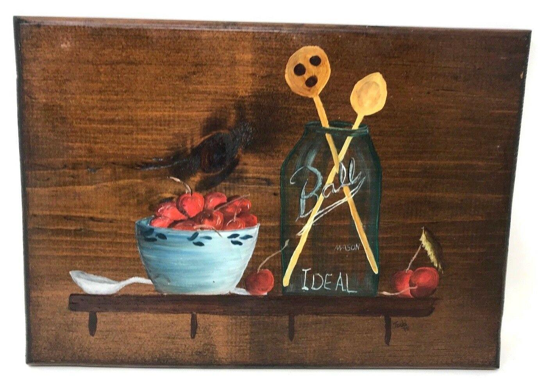 Ball Brothers Fruit Quart Mason Canning Jar Folk Wood Art Farmhouse Kitchen 13x9 - $71.99