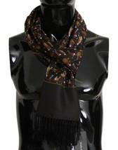 Dolce & Gabbana Exclusive Brown Musical Jazz Instruments Print 100% Silk... - $246.51