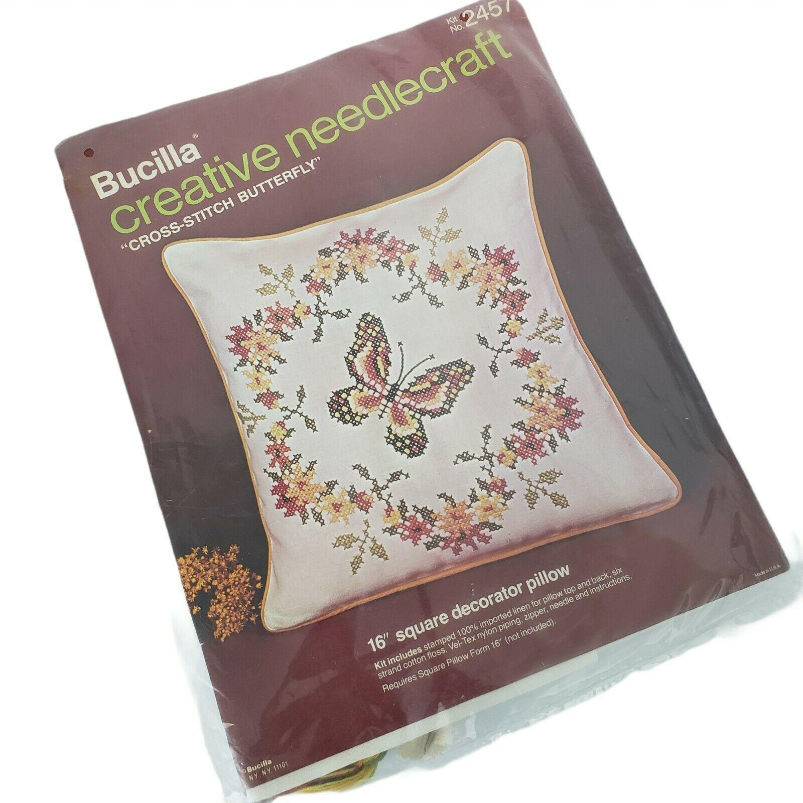 """Bucilla Creative Needlecraft Stamped Cross Stitch Butterfly 16"""" Pillow Vintage - $14.84"""