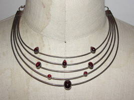 Sterling Silver & Red Garnet Cabochon Galaxy Necklace - $250.00