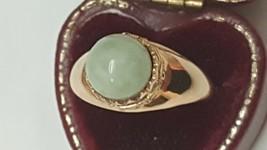 Estate Vintage Sanuk 14k Yellow Gold Genuine Jade Ornate Ring,1950s - $742.00